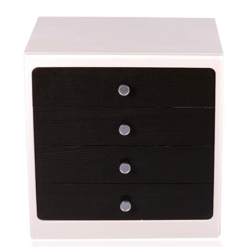 2 nachttische retro schwarz wei. Black Bedroom Furniture Sets. Home Design Ideas
