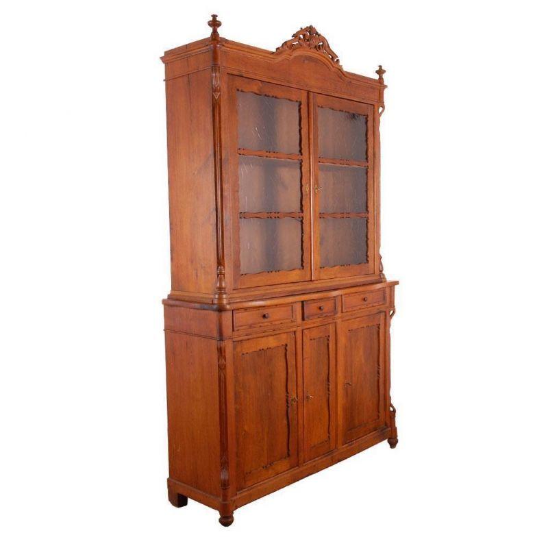 antik biedermeier glasschrank um 1860 esszimmer vitrine aus eiche n. Black Bedroom Furniture Sets. Home Design Ideas