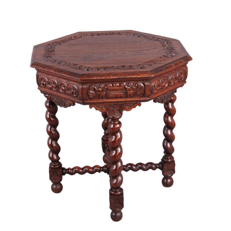 Antiker tisch achteckig barock eiche beistelltisch wohnzimm - Antiker wohnzimmertisch ...