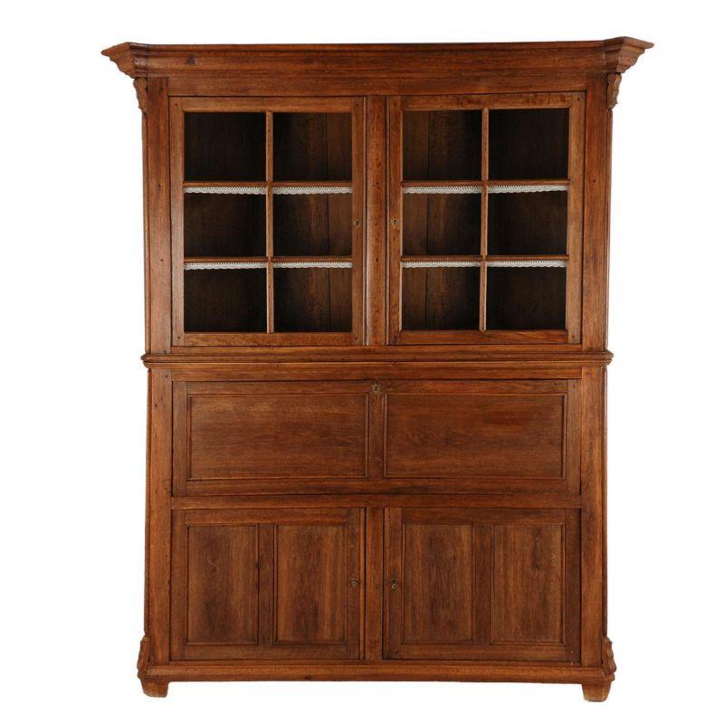 antik eichenschrank massiv sekret r mit vitrinenaufsatz vi. Black Bedroom Furniture Sets. Home Design Ideas