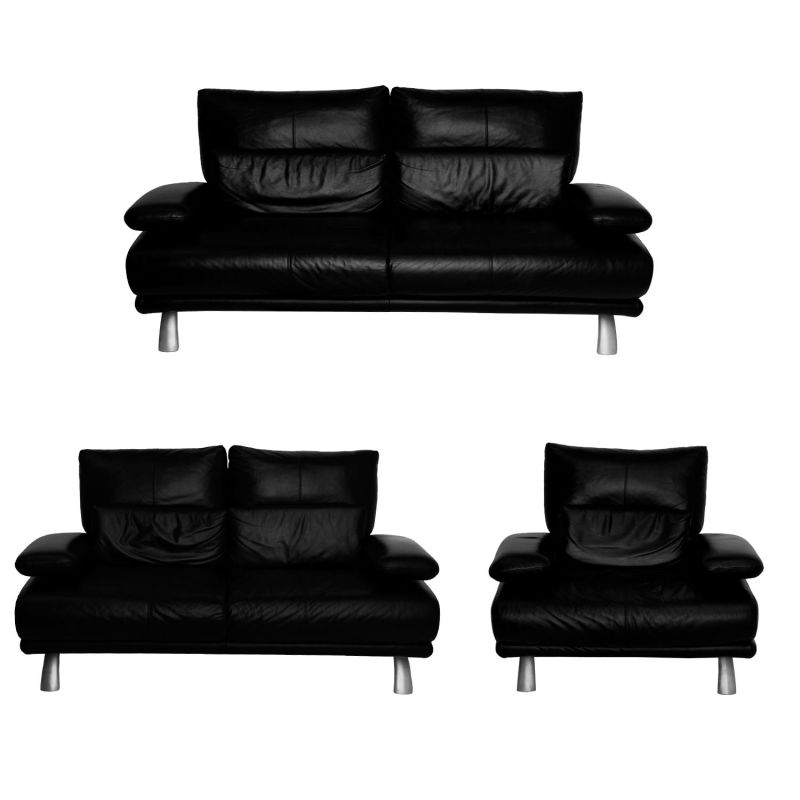 schillig leder couch garnitur schwarz. Black Bedroom Furniture Sets. Home Design Ideas